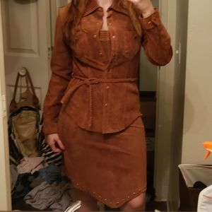 Vintags brown suede skirt top and jacket set